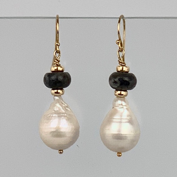 Baroque Pearl Labradorite Earrings- Sterling Silver or 14K Gold Filled