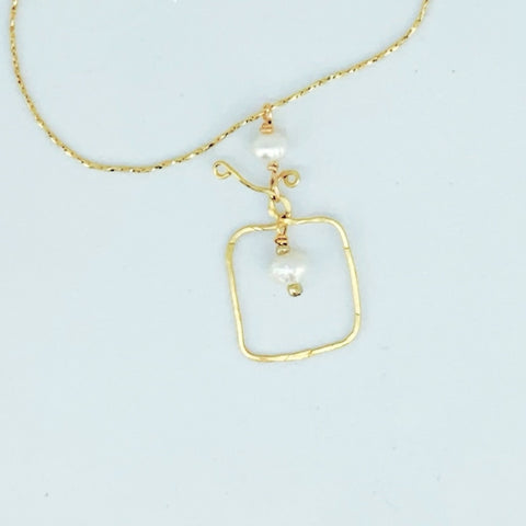Square Pearl Pendant Necklace-14K Gold Filled