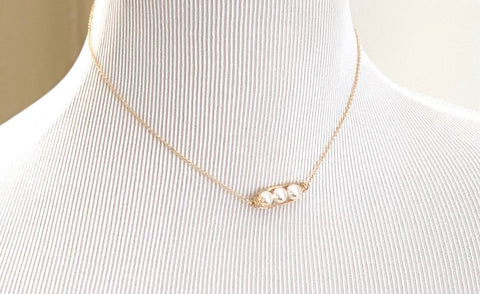 Gold filled peas in a pod mother's day necklace