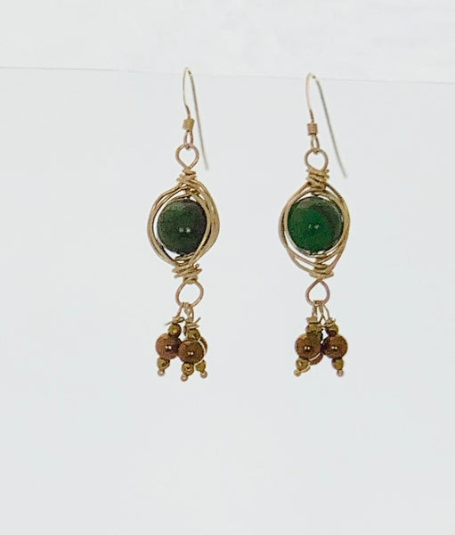 Herringbone Jade Drop Earrings
