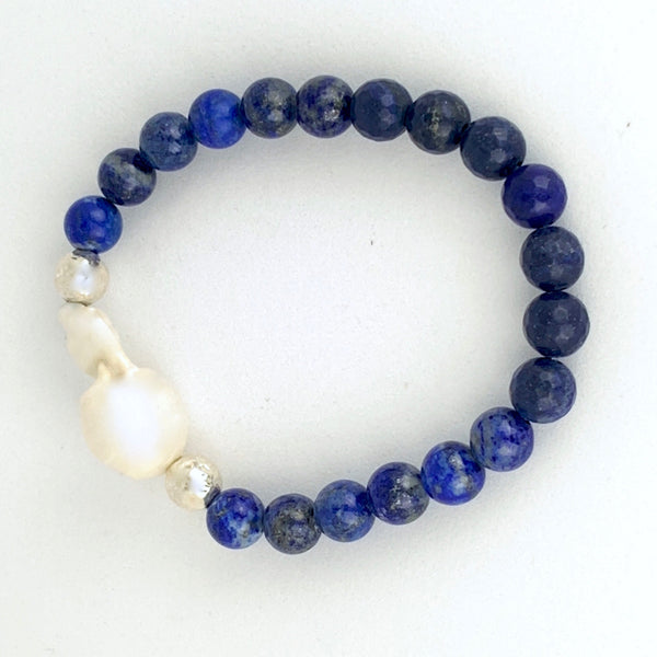 Baroque Pearl and Lapis Lazuli Sterling Silver Stretch Bracelet