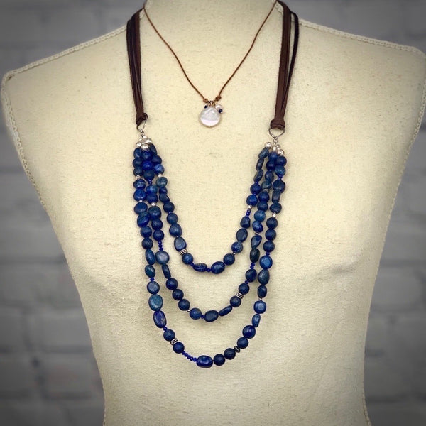 Lapis and Leather Sterling Silver Adjustable Necklace