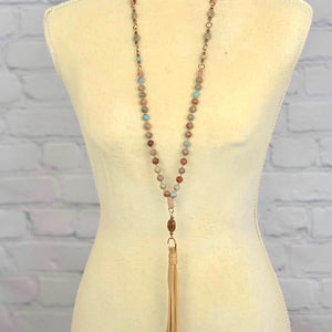 Aqua Terra Leather Tassel Necklace