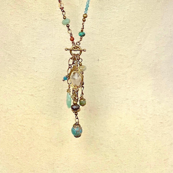Mountain River Convertible Gemstone Collage Necklace