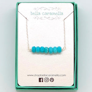 Blue Turquoise Bar Necklace- Sterling Silver or 14K Gold Filled