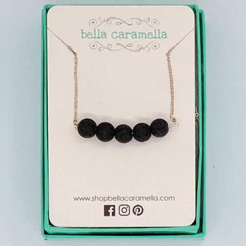 Lava Bead Bar Necklace