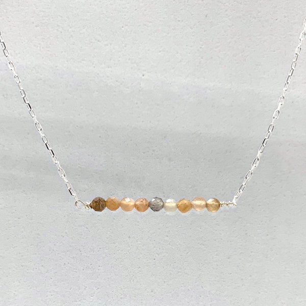 Moonstone Bar Necklace- Sterling Silver or Gold Filled
