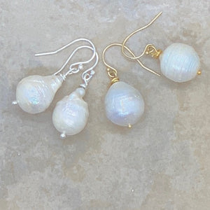 Baroque Pearl Sterling Silver and 14K Gold Filled Earrings