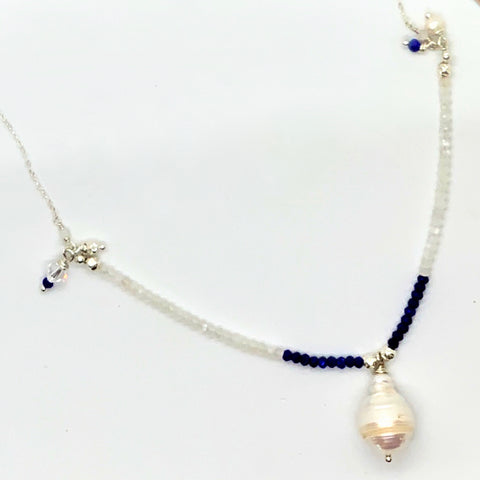 Baroque Pearl Lapis Moonstone Sterling Silver Necklace