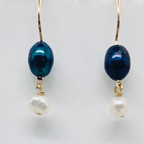 Peacock Freshwater Pearl Dangle Earrings 14K Gold Filled