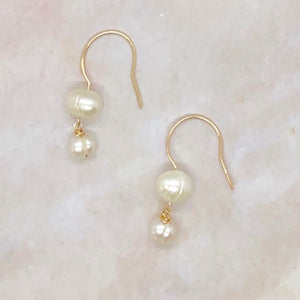 Freshwater Pearl Double Dangle Earrings 14K Gold Filled