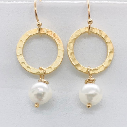 Vermeil Hammered Circle Freshwater Pearl Earrings-Sterling Silver