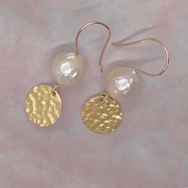 Hammered Disc Freshwater Pearl Earrings-Gold Filled