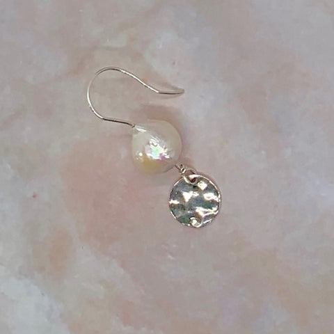 Hammered Disc Freshwater Pearl Earrings-Sterling Silver