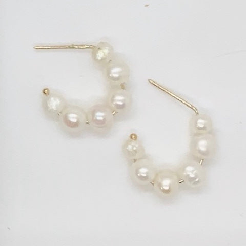 Petite Pearl Hoops- Sterling Silver or 14K Gold Filled