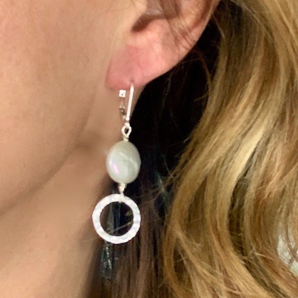 Coin Pearl Circle Earrings Sterling Silver