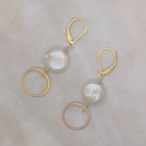 Coin Pearl Circle Earrings-Vermeil