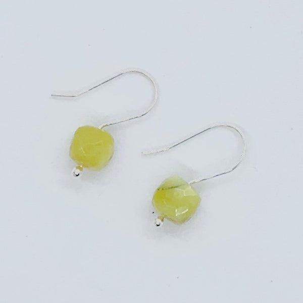 Green Opal Cube Minimalist Earrings