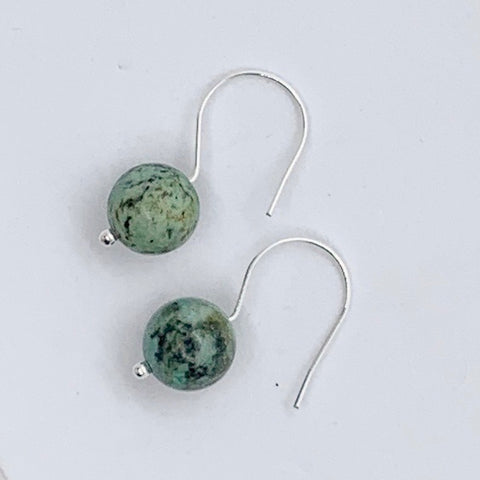 African Turquoise Minimalist Earrings