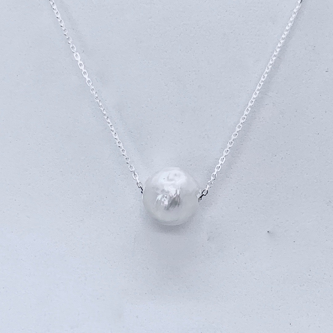 Floating Pearl on a Sterling Silver Chain
