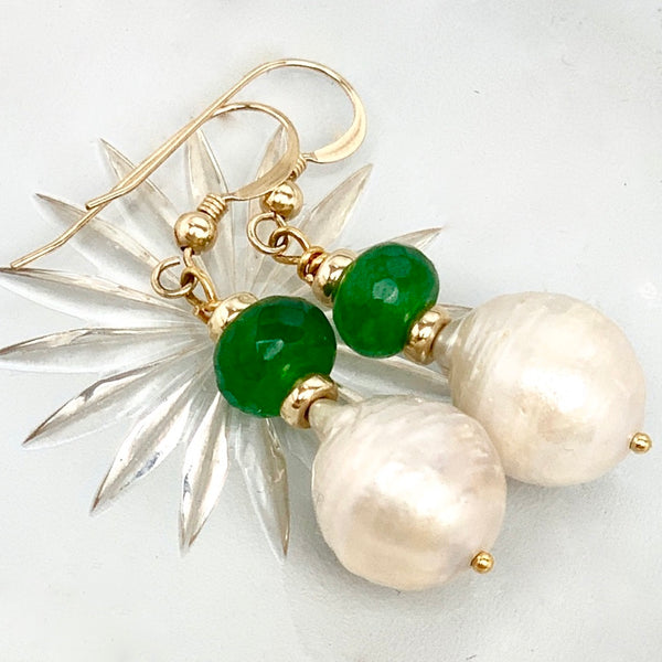 Baroque Pearl Jade Earrings- Sterling Silver or 14K Gold Filled