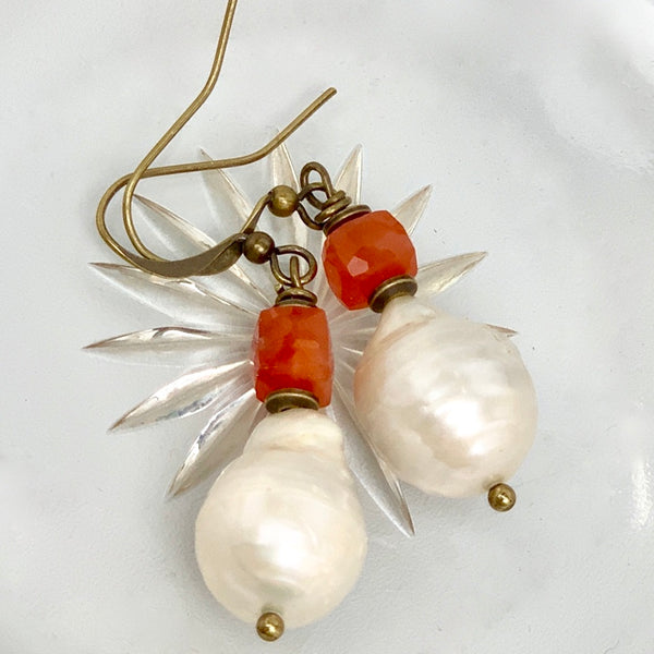 Baroque Pearl Carnelian and Turquoise Earrings