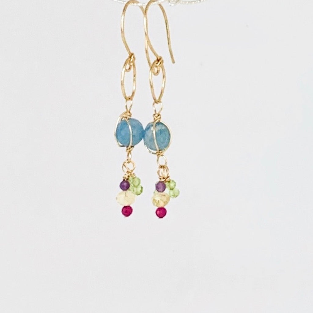Gemstone Wrapped Drop Earrings