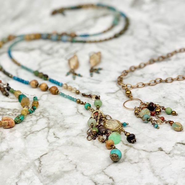 Mountain River Gemstone Collage Tassel Necklace