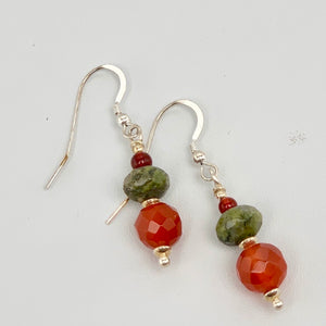Carnelian Unakite Sterling Silver Earrings