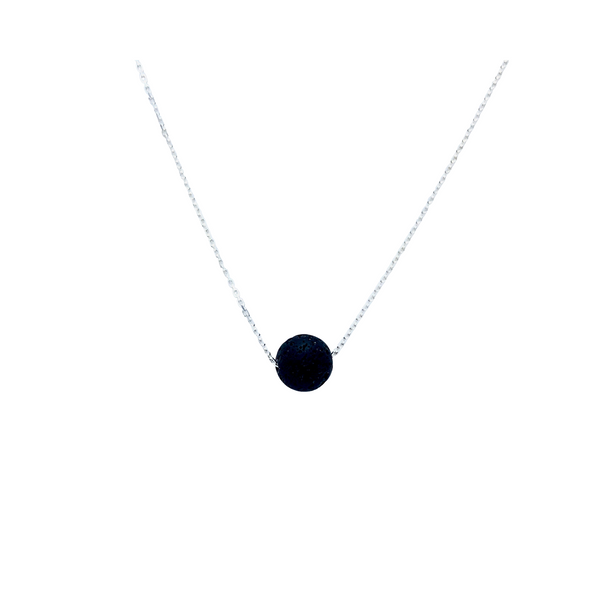 Floating Lava Bead Necklace on a Sterling Silver Chain