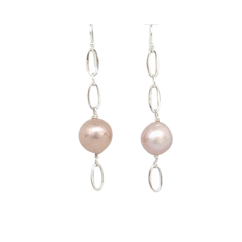Sterling Silver Pink Pearl and Ovals Earrings