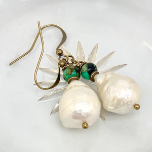 Baroque Pearl Turquoise Antique Brass Earrings
