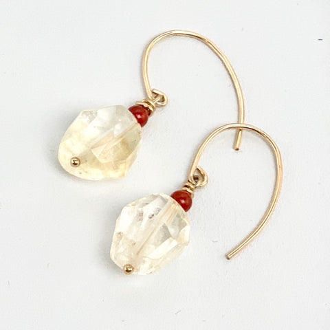 Citrine Carnelian 14K Gold Filled Earrings