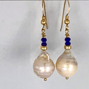 Baroque Pear and Lapis Lazuli Earrings