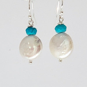 Turquoise Coin Pearl Sterling Silver Earrings