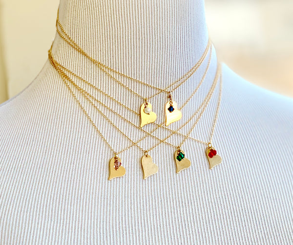 Minimalist choker necklace with a whimsical heart charm and a floating Swarvoski crystal birthstone on a 14K Gold Filled fine cable chain