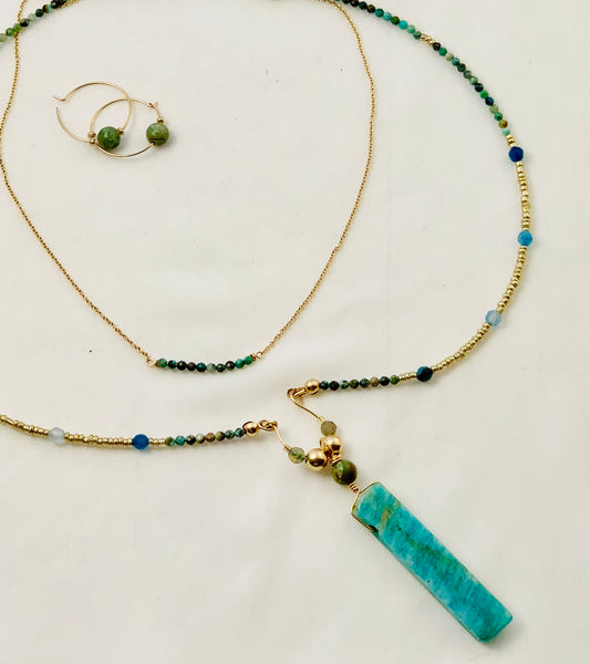 handcrafted 34 inch necklace Turquoise 2.5 inch Amazonite bar pendant  Gold Filled beads