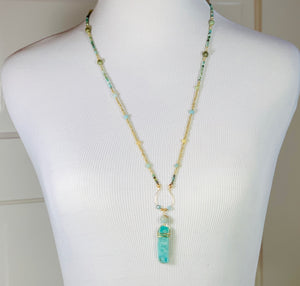 handcrafted 26 inch necklace with a 2.5 inch, 14K Gold filled wire wrapped Amazonite bar pendant  Turquoise, Agate, Amazonite beads 14K Gold Filled beads