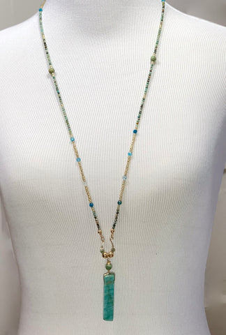 Turquoise and Amazonite Long Beaded Bar Necklace