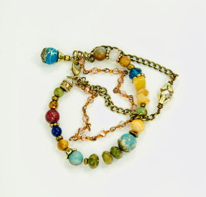 Multicolored Three Strand Gemstone Bracelet