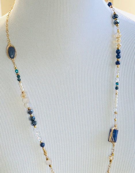 Sterling Silver or 14K Gold Filled  Lapis Lazuli  and Pearl Necklace