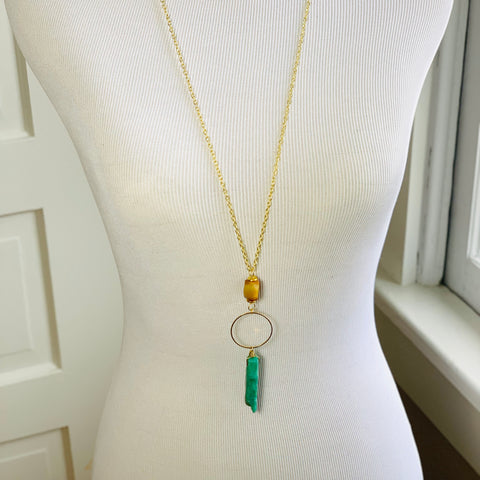 Amazonite Bar Circle Necklace