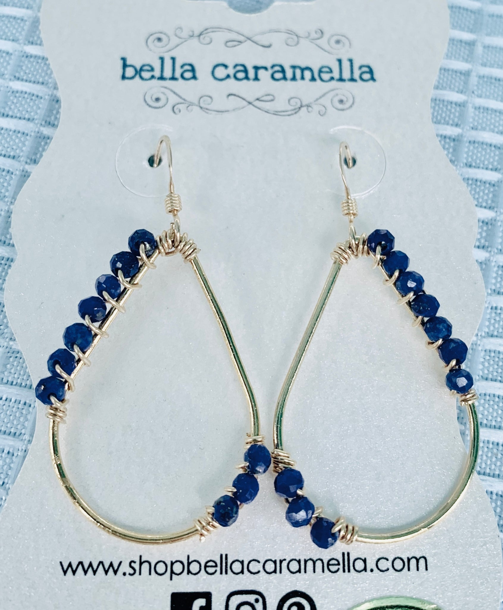 gold filled earrings, lapis lazili