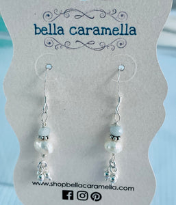 sterling silver, freshwater pearl, aquamarine earrings