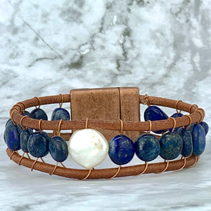 Lapis Lazuli Coin Pearl Leather Bracelet