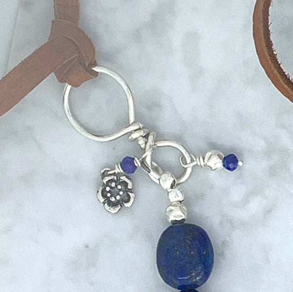 Lapis Lazuli Sterling Silver and Leather Necklace