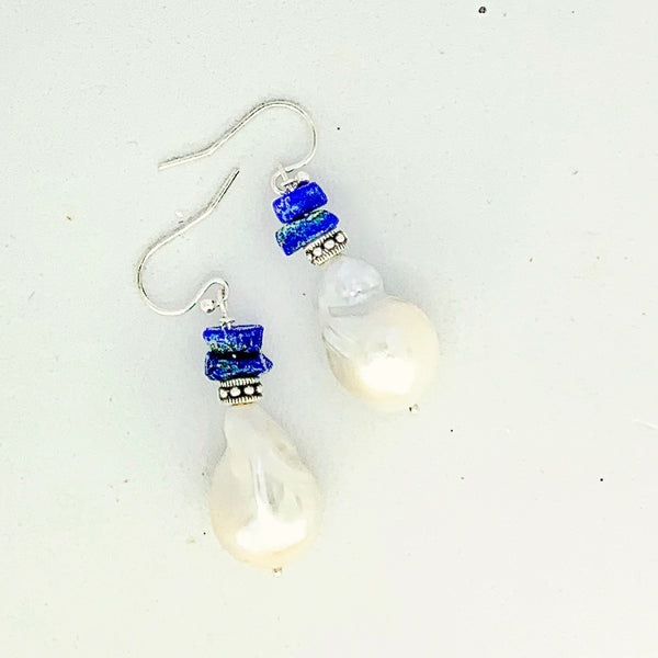 Baroque Pearl and Lapis Lazuli Sterling Silver Earrings