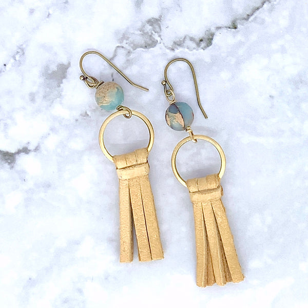 Aqua Terra Leather Fringe Earrings