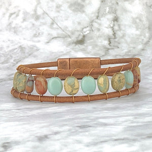 Aqua Terra Leather Magnetic Clasp Bracelet