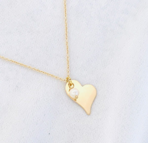 Heart Pendant Necklace with Floating Freshwater Pearl